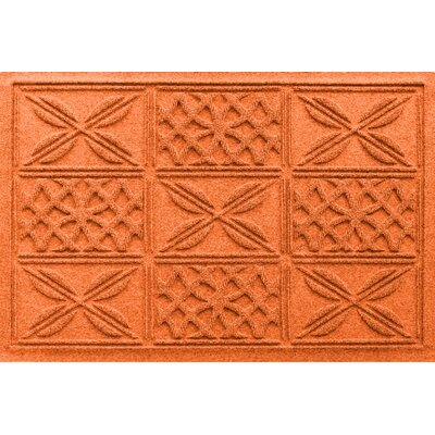 Aqua Shield Patchwork Grid Doormat Color: Orange