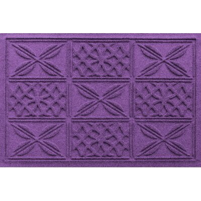 Aqua Shield Patchwork Grid Doormat Color: Purple