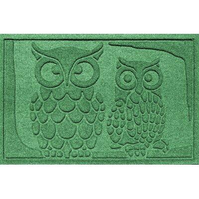 Aqua Shield Owls Doormat Color: Light Green