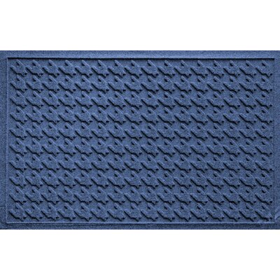 Aqua Shield Houndstooth Doormat Color: Navy