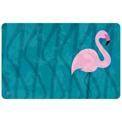 Surfaces Flamingo Doormat Color: Blue