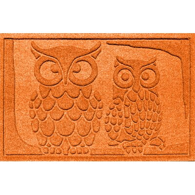 Aqua Shield Owls Doormat Color: Orange