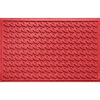 Aqua Shield Houndstooth Doormat Color: Solid Red
