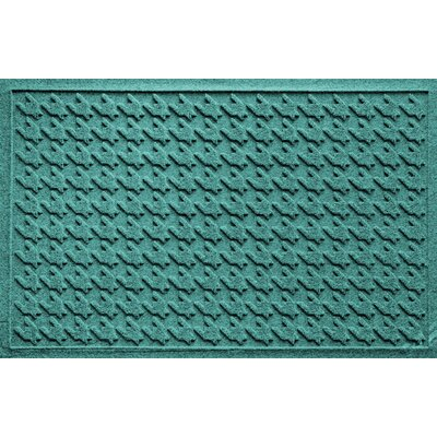 Aqua Shield Houndstooth Doormat Color: Aquamarine