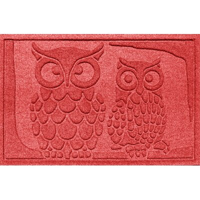 Aqua Shield Owls Doormat Color: Solid Red