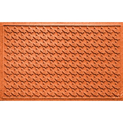 Aqua Shield Houndstooth Doormat Color: Orange