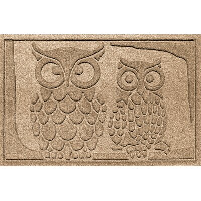 Aqua Shield Owls Doormat Color: Camel