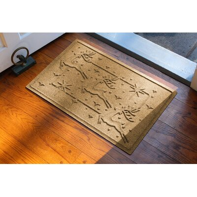 Aqua Shield Reindeer Row Doormat Color: Gold