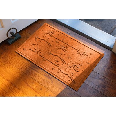 Aqua Shield Reindeer Row Doormat Color: Orange