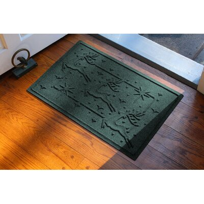 Aqua Shield Reindeer Row Doormat Color: Evergreen