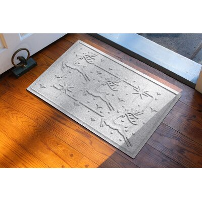 Aqua Shield Reindeer Row Doormat Color: White