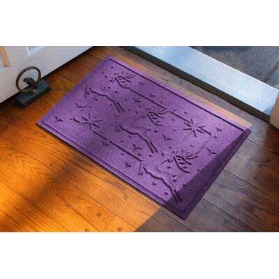Aqua Shield Reindeer Row Doormat Color: Purple