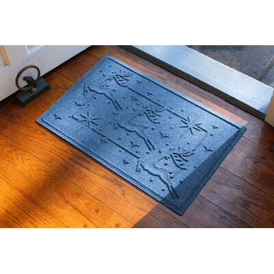 Aqua Shield Reindeer Row Doormat Color: Medium Blue