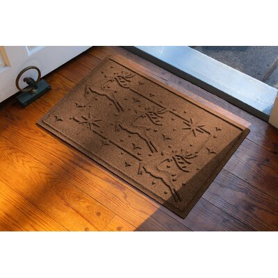 Aqua Shield Reindeer Row Doormat Color: Dark Brown