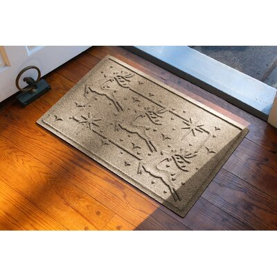 Aqua Shield Reindeer Row Doormat Color: Camel