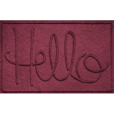 Aqua Shield Hello Doormat Color: Bordeaux