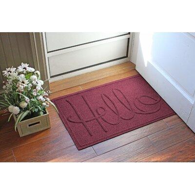 Aqua Shield Hello Doormat Color: Bordeaux
