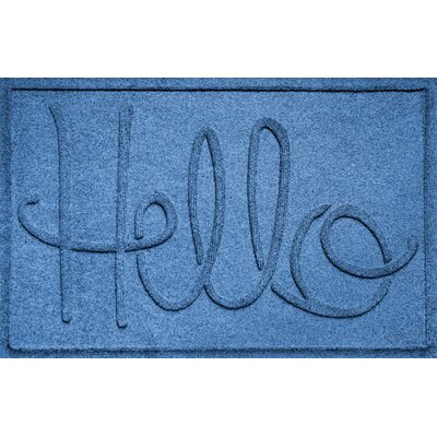 Aqua Shield Hello Doormat Color: Medium Blue