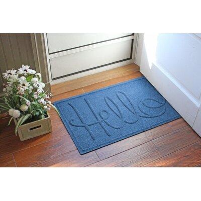 Aqua Shield Hello Doormat Color: Medium Blue