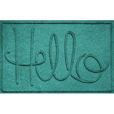 Aqua Shield Hello Doormat Color: Aquamarine