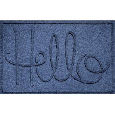 Aqua Shield Hello Doormat Color: Navy