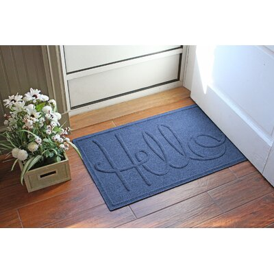 Aqua Shield Hello Doormat Color: Navy