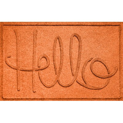 Aqua Shield Hello Doormat Color: Orange