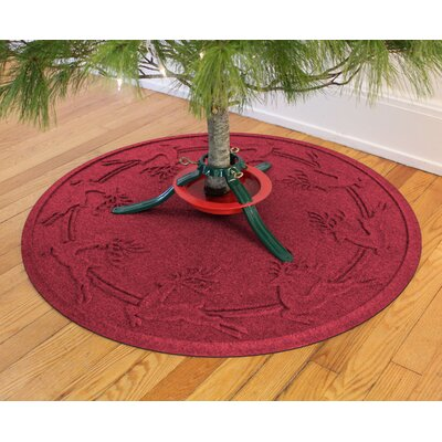 Aqua Shield Reindeer Run Christmas Tree Doormat Color: Red/Black