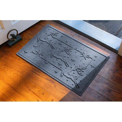 Aqua Shield Reindeer Row Doormat Color: Bluestone