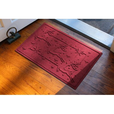 Aqua Shield Reindeer Row Doormat Color: Red/Black