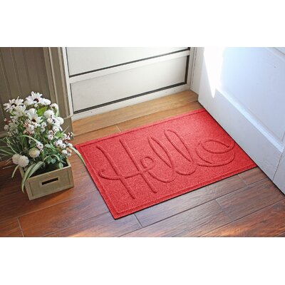 Aqua Shield Hello Doormat Color: Solid Red