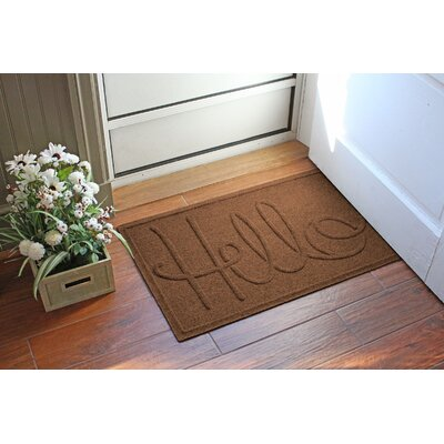 Aqua Shield Hello Doormat Color: Dark Brown
