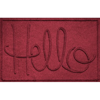 Aqua Shield Hello Doormat Color: Red/Black