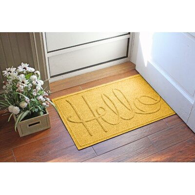 Aqua Shield Hello Doormat Color: Yellow