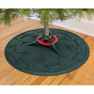 Aqua Shield Reindeer Run Christmas Tree Doormat Color: Evergreen