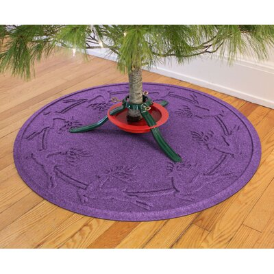 Aqua Shield Reindeer Run Christmas Tree Doormat Color: Purple