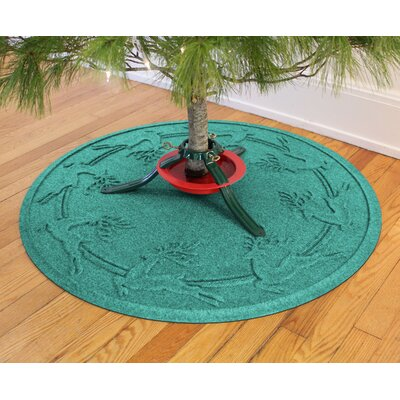 Aqua Shield Reindeer Run Christmas Tree Doormat Color: Aquamarine