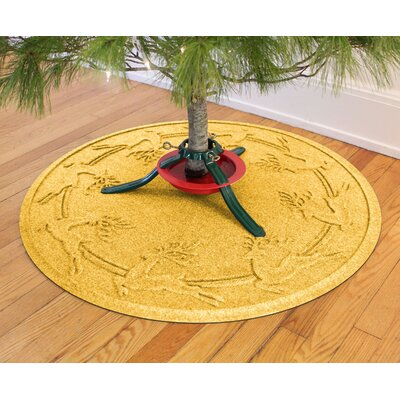 Aqua Shield Reindeer Run Christmas Tree Doormat Color: Yellow