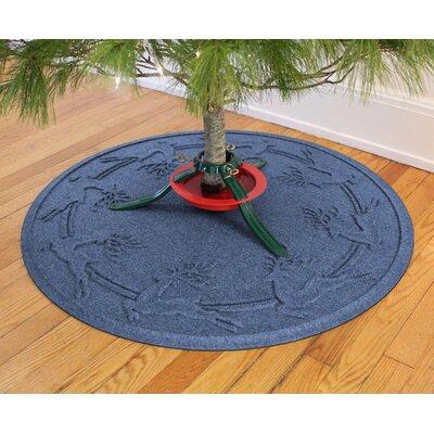 Aqua Shield Reindeer Run Christmas Tree Doormat Color: Navy