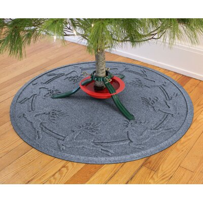 Aqua Shield Reindeer Run Christmas Tree Doormat Color: Bluestone
