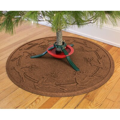 Aqua Shield Reindeer Run Christmas Tree Doormat Color: Dark Brown