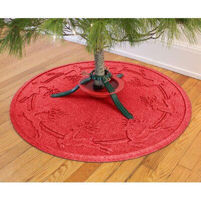 Aqua Shield Reindeer Run Christmas Tree Doormat Color: Solid Red