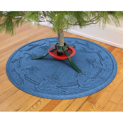 Aqua Shield Reindeer Run Christmas Tree Doormat Color: Medium Blue