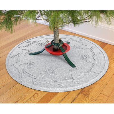 Aqua Shield Reindeer Run Christmas Tree Doormat Color: White