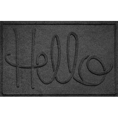 Aqua Shield Hello Doormat Color: Charcoal