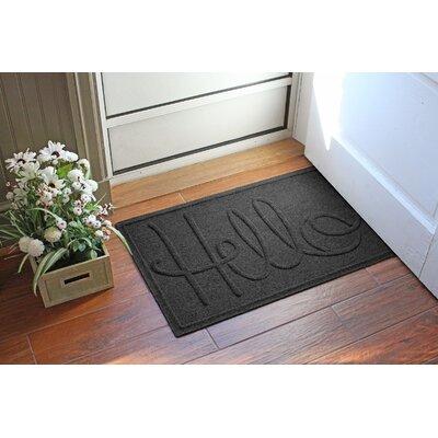 Aqua Shield Hello Doormat Color: Charcoal