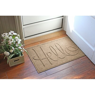 Aqua Shield Hello Doormat Color: Camel
