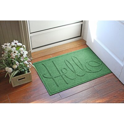 Aqua Shield Hello Doormat Color: Light Green