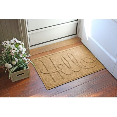 Aqua Shield Hello Doormat Color: Gold