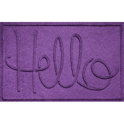 Aqua Shield Hello Doormat Color: Purple